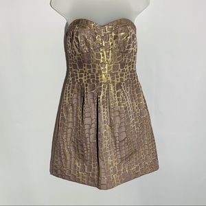 American Eagle taupe/gold strapless dress, size 4